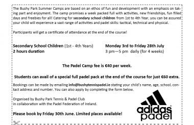 Bushy Park Padel Lessons for Secondary School Students